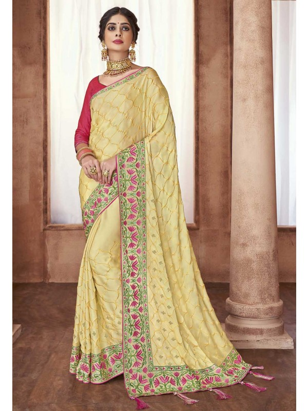 Light Yellow Colour Designer Sari.