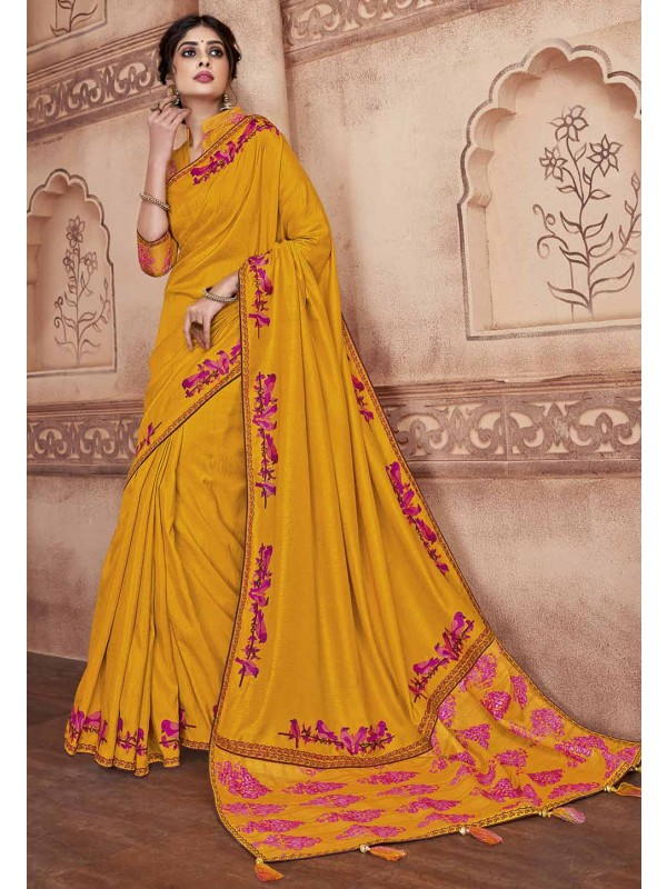 Mustard Yellow Colour Silk Saree.