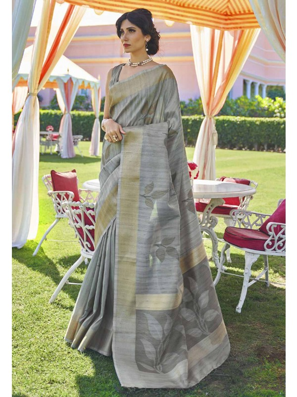Grey Colour Handloom,Silk Saree.