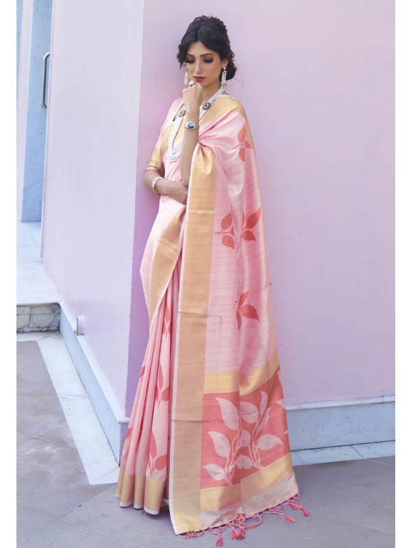 Light Pink Colour Printed Saree.