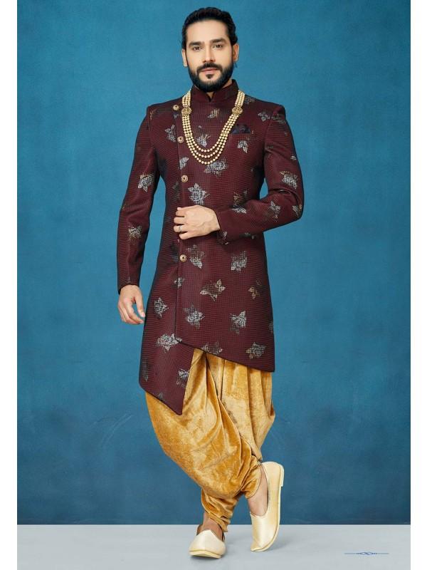 Maroon Colour Designer Indowestern For Men.