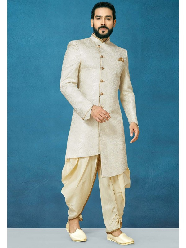 Party Wear Indowestern in Cream Colour.