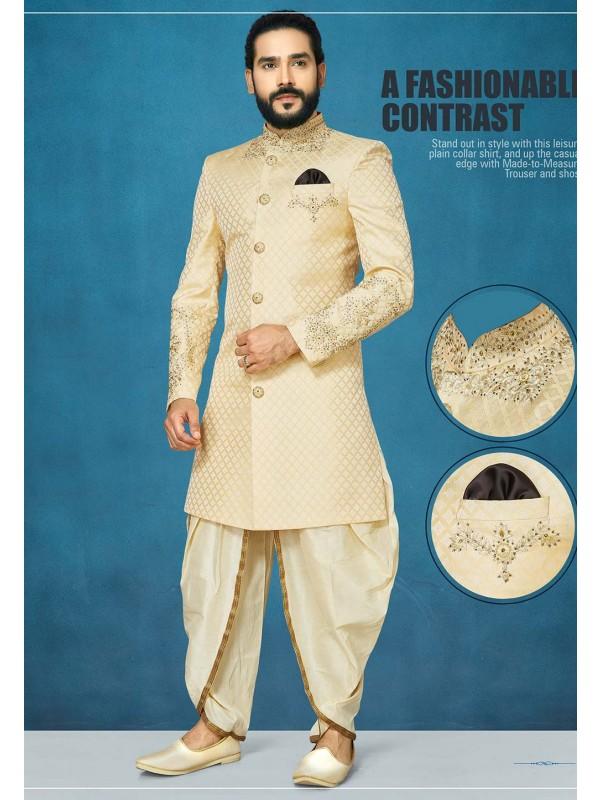 Cream Colour Indian Wedding Indo Sherwani.
