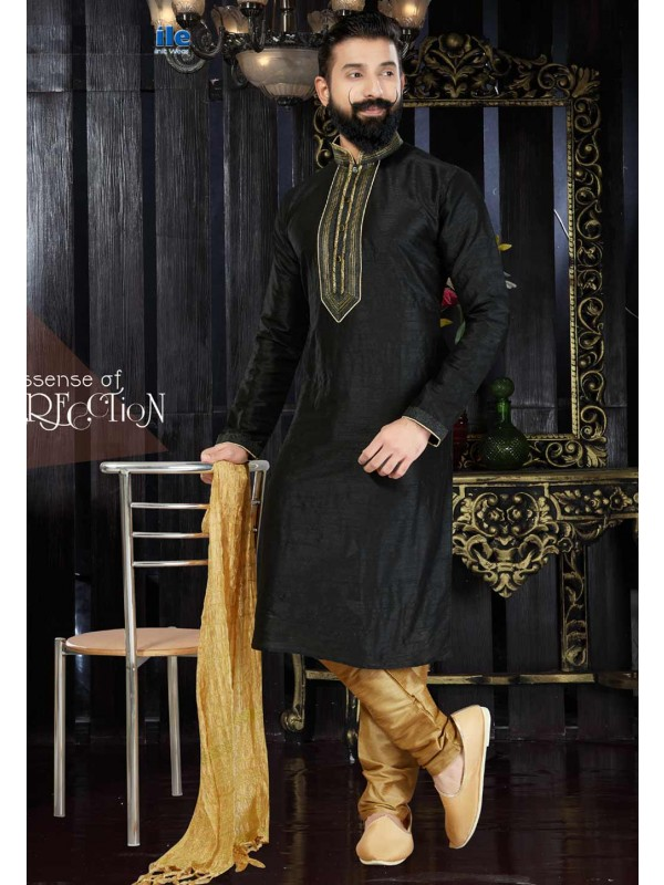 Dupion Art Silk & Black Color Readymade Kurta For Men's