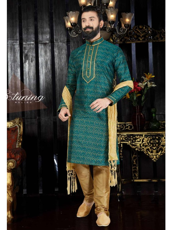 Green Color & Dupion Art Silk Readymade Kurta For Men's