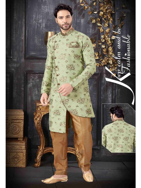Pista Green Colour Stylish Designer Indowestern.