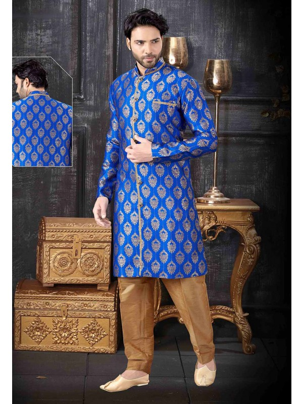 Party Wear Indowestern Royal Blue Colour.