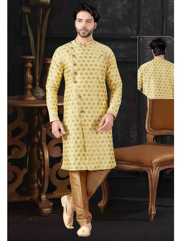 Designer Indowestern Yellow Colour.