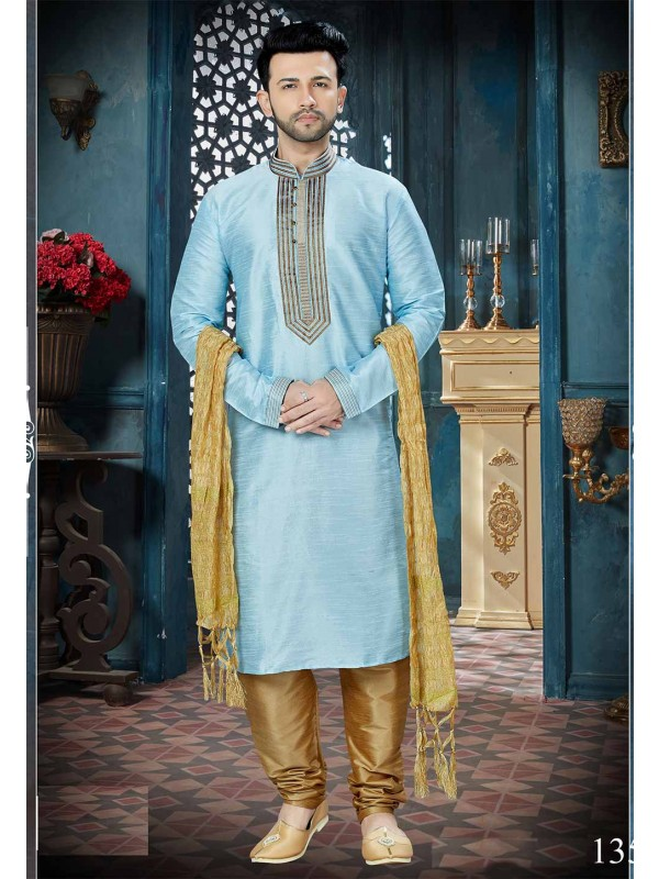 Blue Color Men's Kurta Pajama.