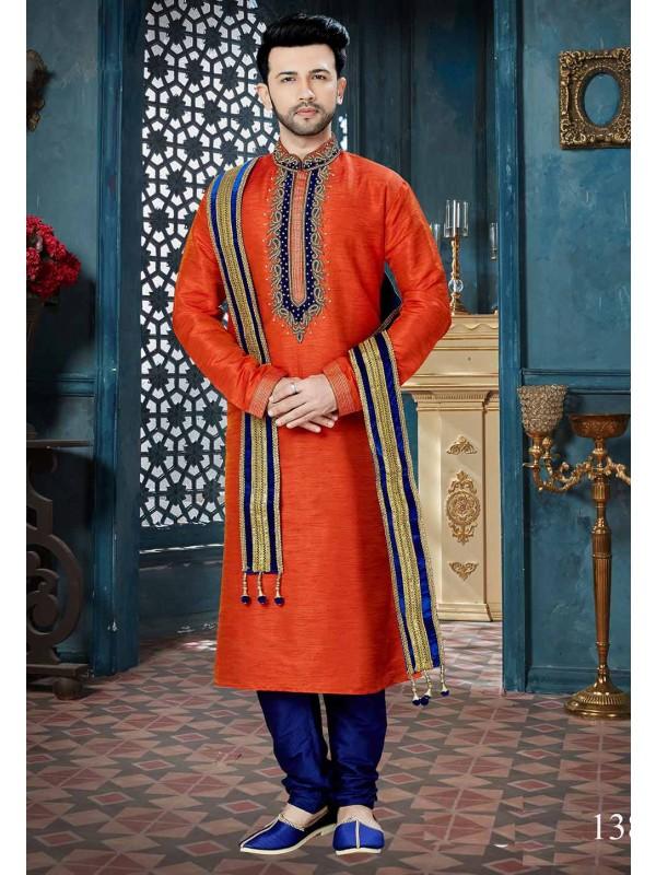 Orange Color Indian Traditional Kurta Pajama.