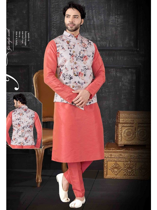 Red,Multi Colour Kurta Pajama Jacket.