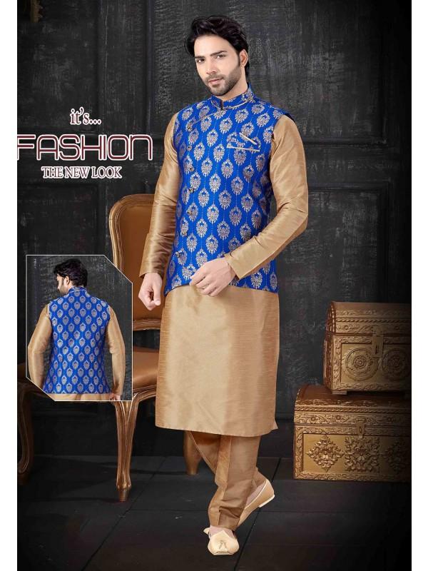 Beige,Blue Colour Designer Kurta Pajama.