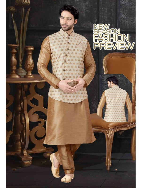 Beige,Cream Colour Art Silk Kurta Pajama Jacket.