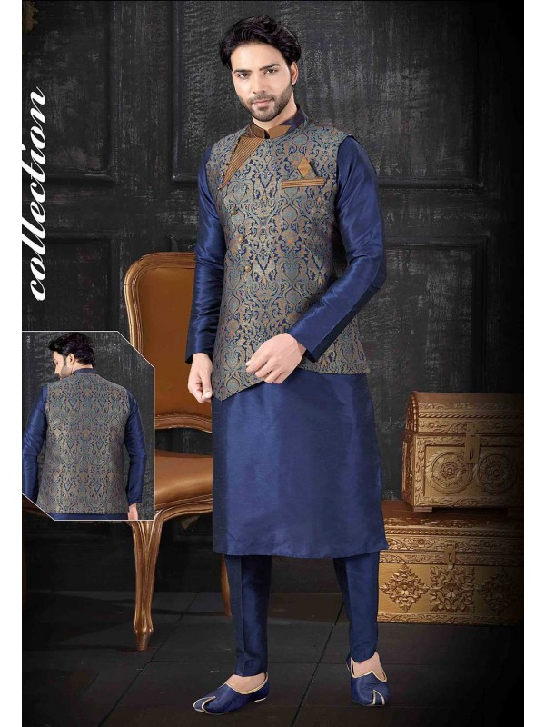 Blue,Multi Colour Kurta Pajama With Jacket.