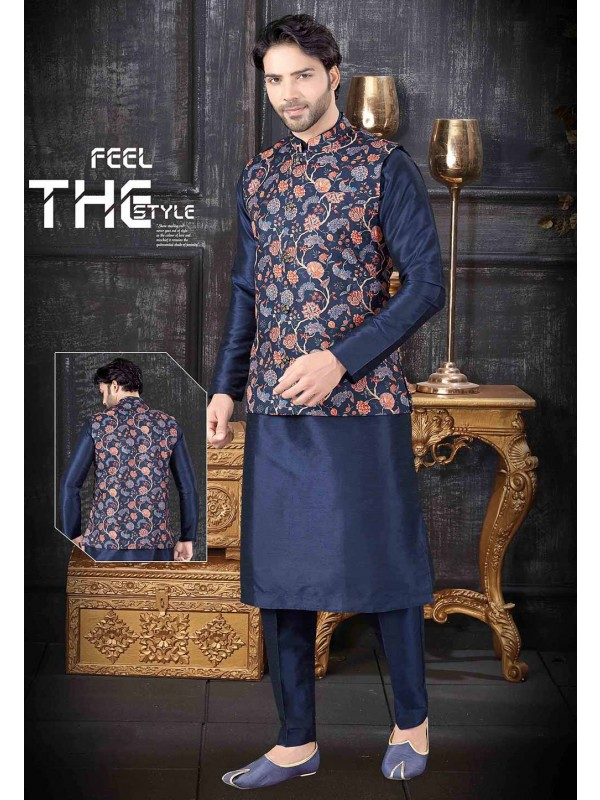 Blue Colour Art Silk Party Wear Kurta Pajama Jacket.