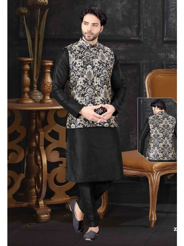 Black,Golden Colour Designer Kurta Pajama Jacket.