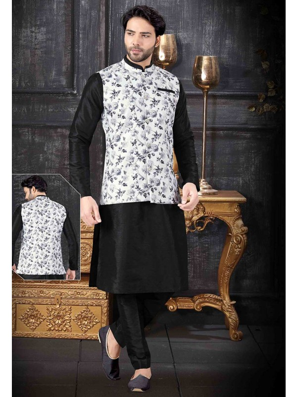 Designer Kurta Pajama Black,Off White Colour.