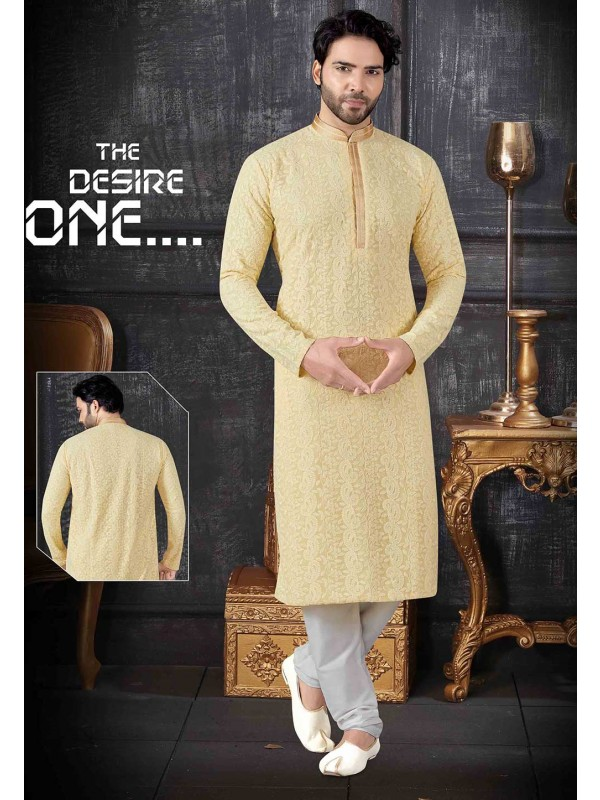 Yellow Colour Lucknowi Kurta Pajama.