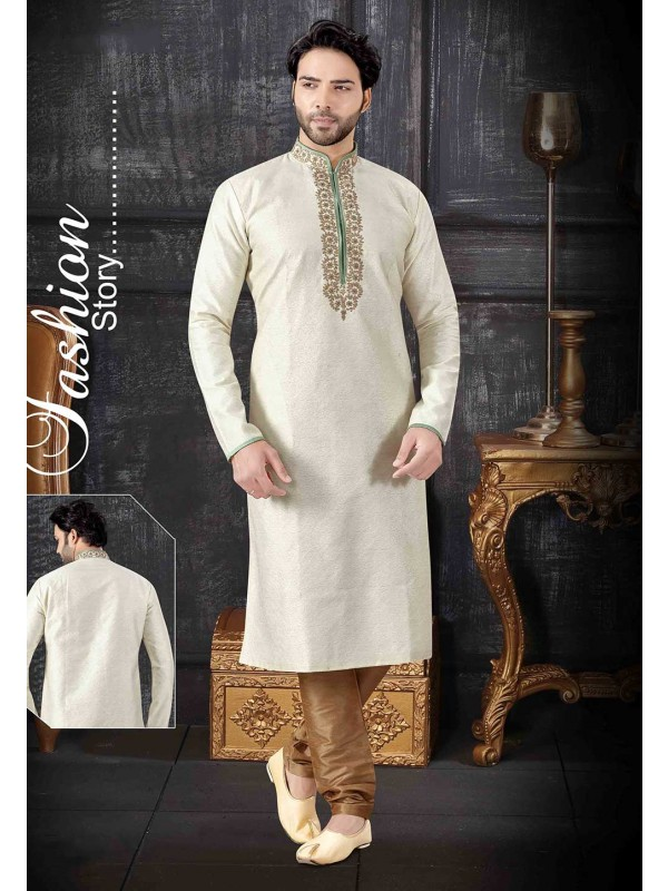 Cream Colour Indian Wedding Kurta Pajama.