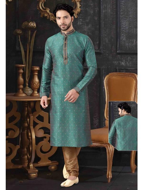 Rama Green Colour Jacquard Kurta Pajama.