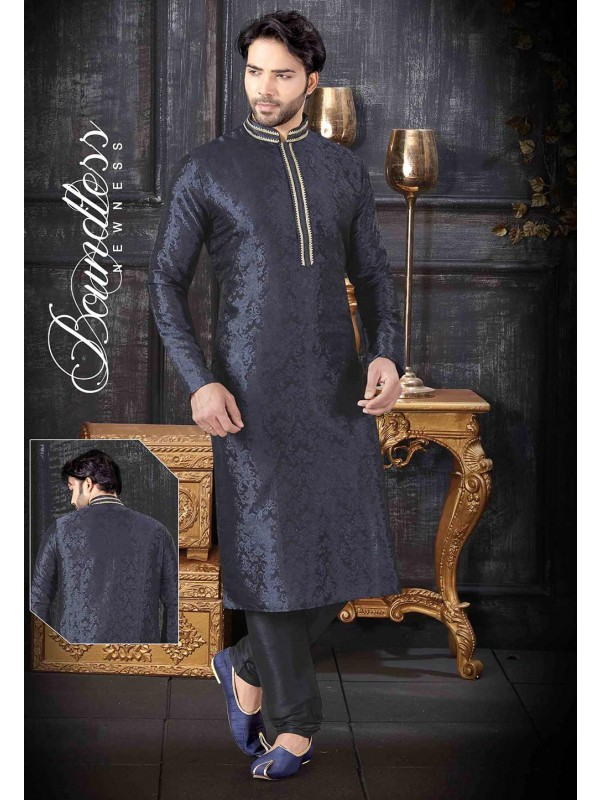 Navy Blue Colour Men's Kurta Pajama.