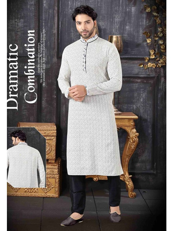 Men's Designer Kurta Pajama Off White Colour.