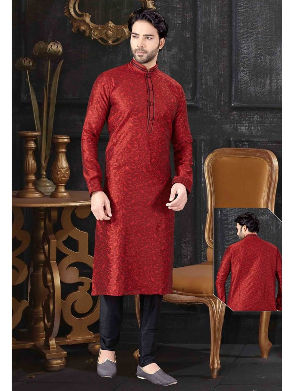 Maroon Colour Indian Wedding Kurta Pajama.