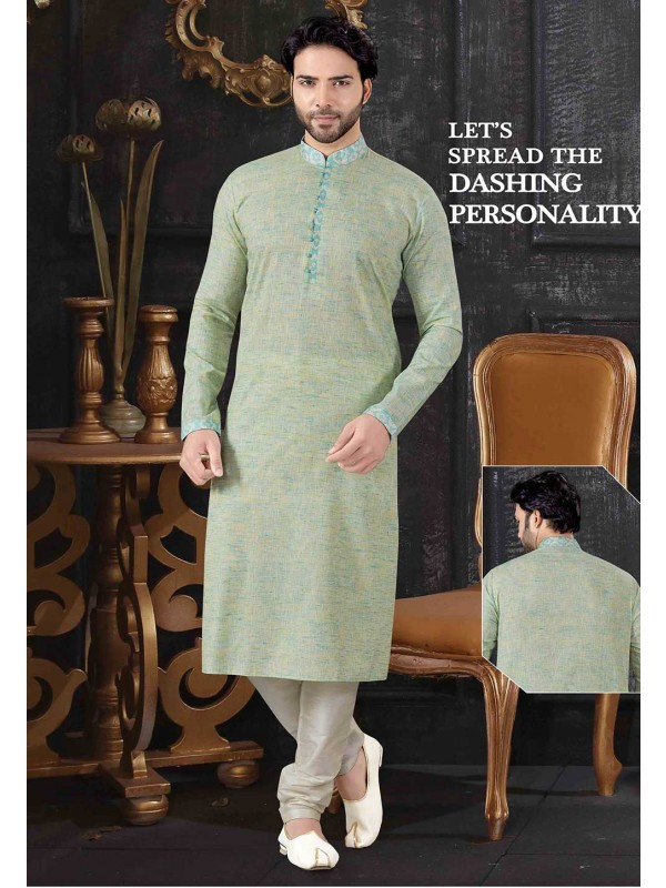 Light Green Colour Designer Kurta Pajama.