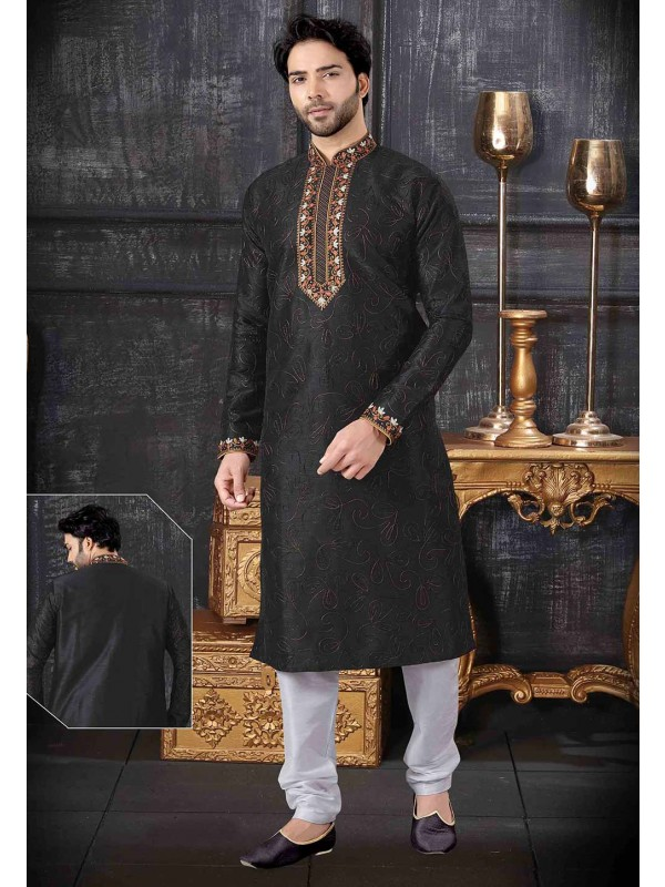 Black Colour Art Silk Kurta Pajama.