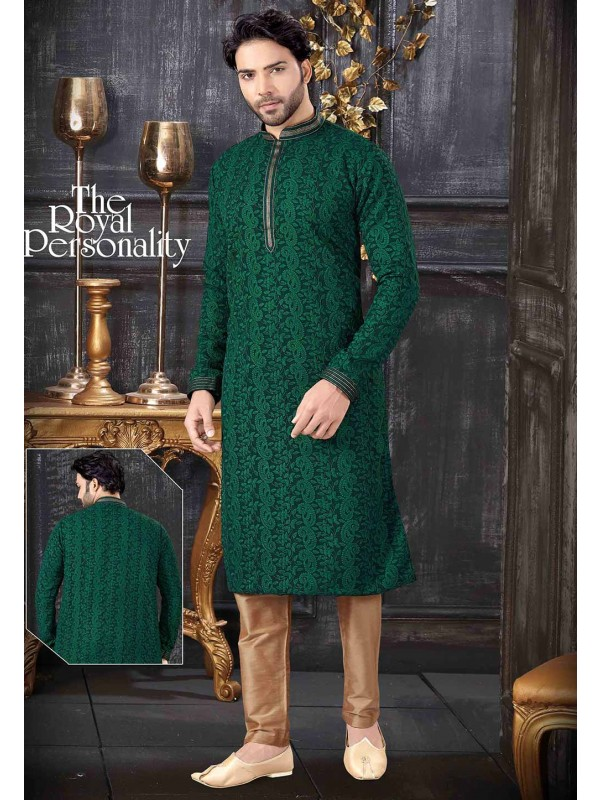 Lucknowi Kurta Pajama Green Colour.