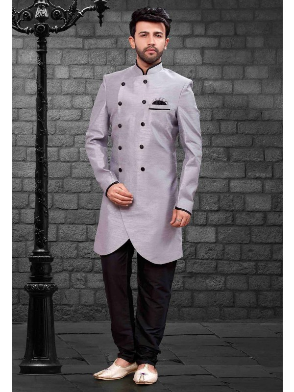 Grey Colour Men's Indowestern.