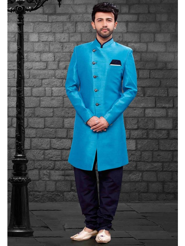 Blue Colour Party Wear Indowestern.