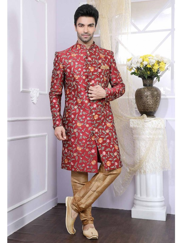 Maroon Party Wear Indowestern.