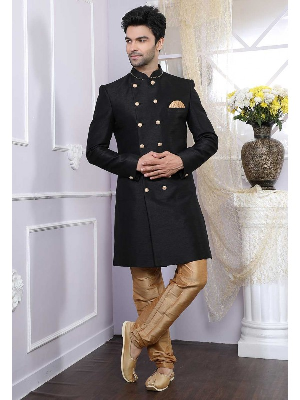 Black Colour Men's Indowestern.