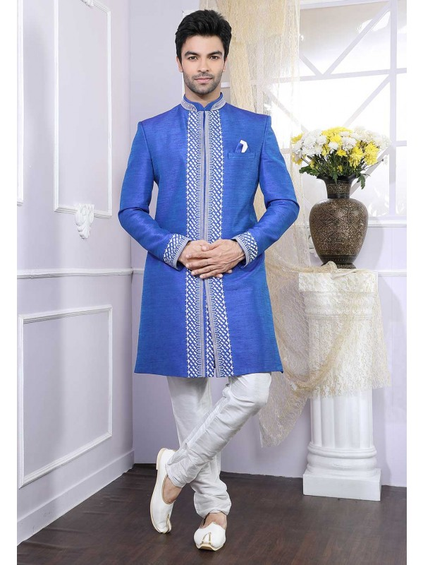 Blue Colour Dupion Silk Indowestern.