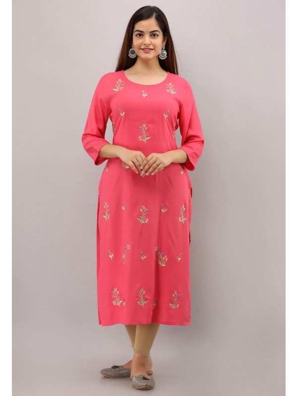 Pink Colour Rayon Fabric Readymade Kurti.