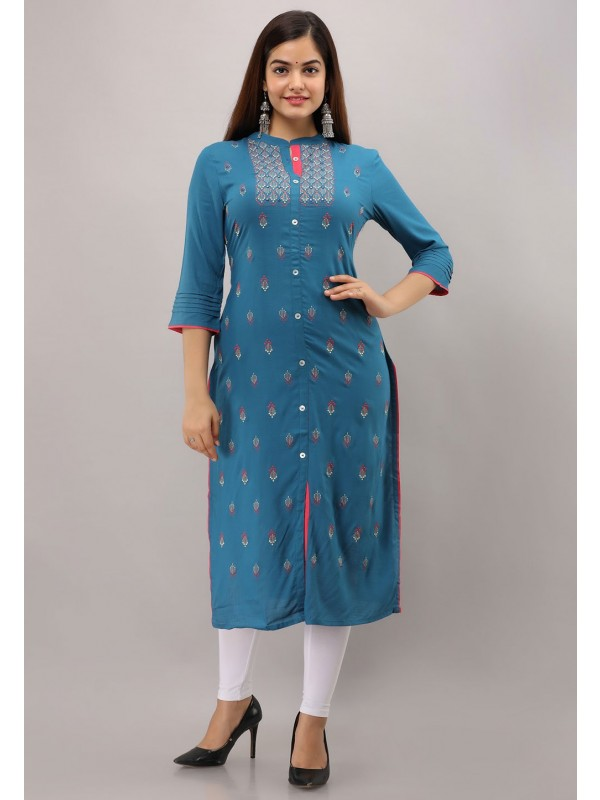 Blue Colour Embroidery Readymade Kurti.