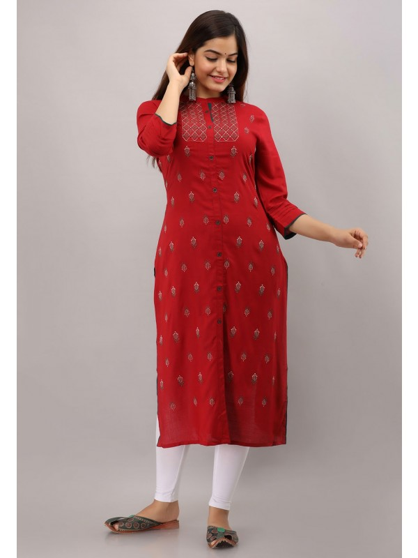 Red Colour Rayon Cotton Fabric Designer Kurti.