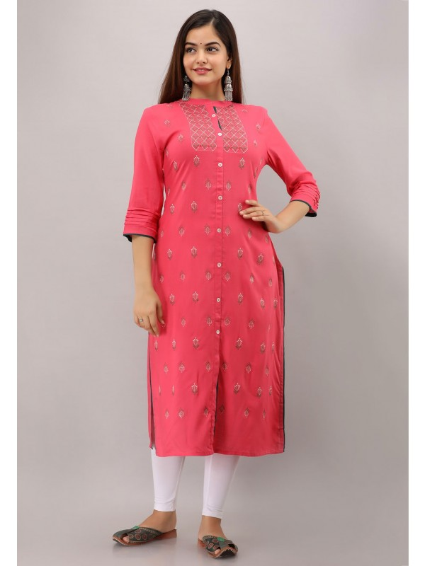 Pink Colour Straight Readymade Kurti.