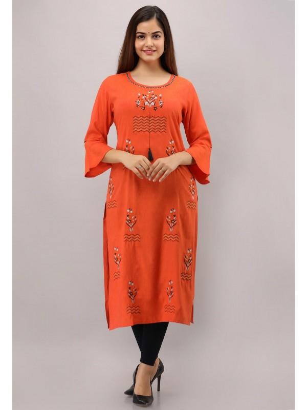 Orange Colour Embroidery Kurti.