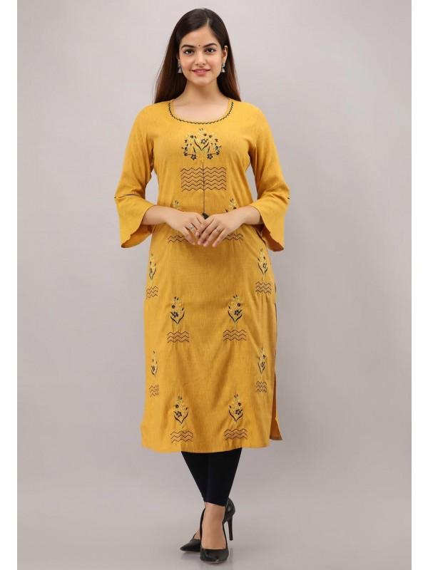 Yellow Colour Women Kurti.