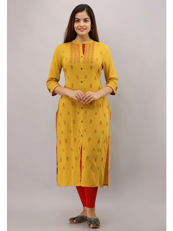 Yellow Colour Embroidered Kurti.