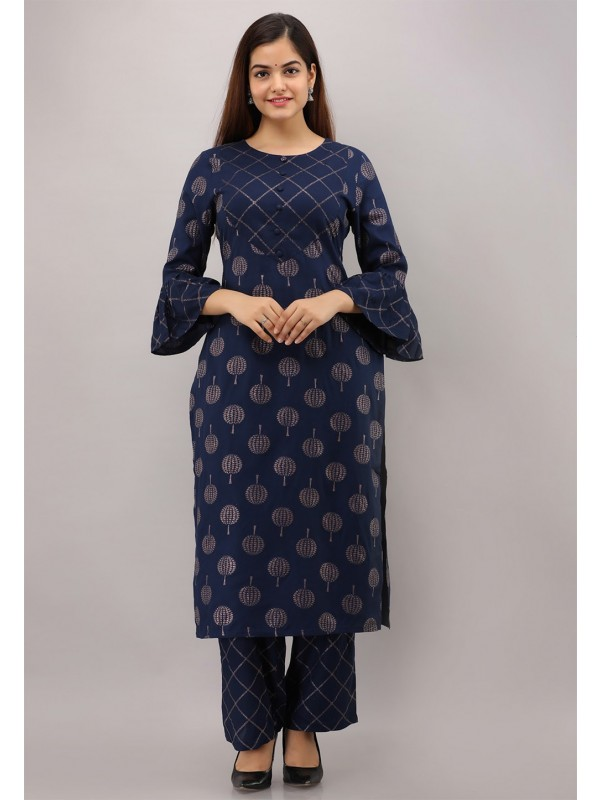 Blue Colour Designer Printed Kurti.