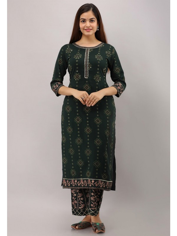 Bottle Green Colour Hand Work Designer Kurti.