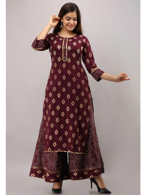 Maroon Colour Sharara Style Readymade Kurti.
