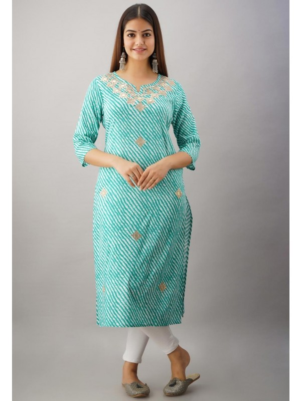 Rayon Fabric Green Colour Kurti.