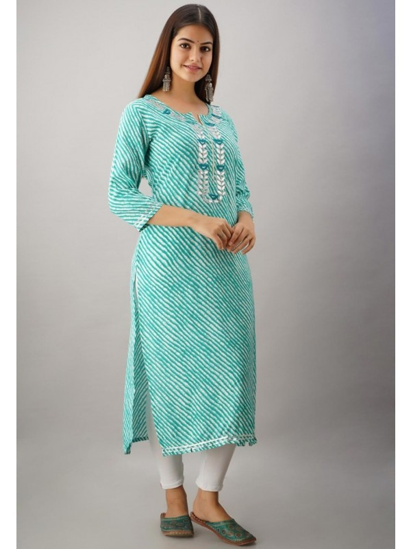 Green Colour Lehariya Kurti With Gota Patti Work.