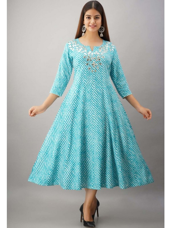 Sky Blue Colour Anarkali Style Gota Patti Work Kurti.