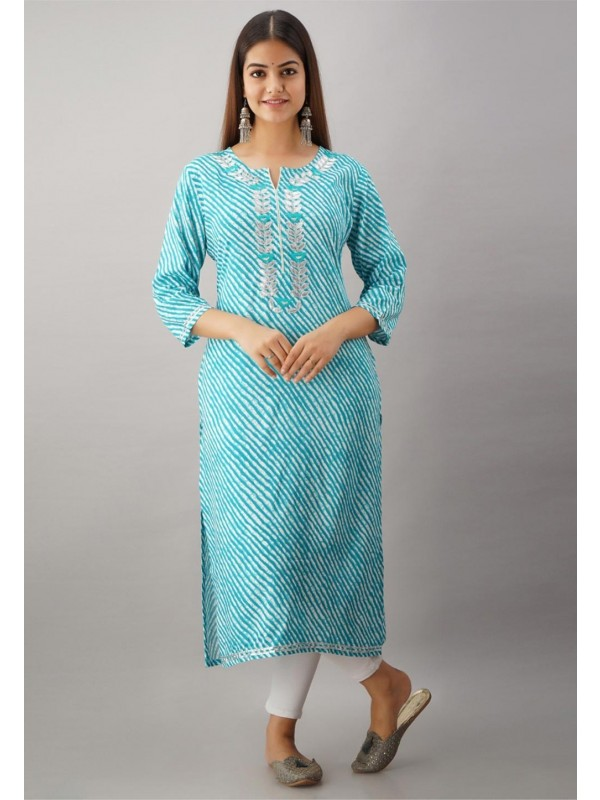 Straight Cut Sky Blue Colour Rayon Kurti.