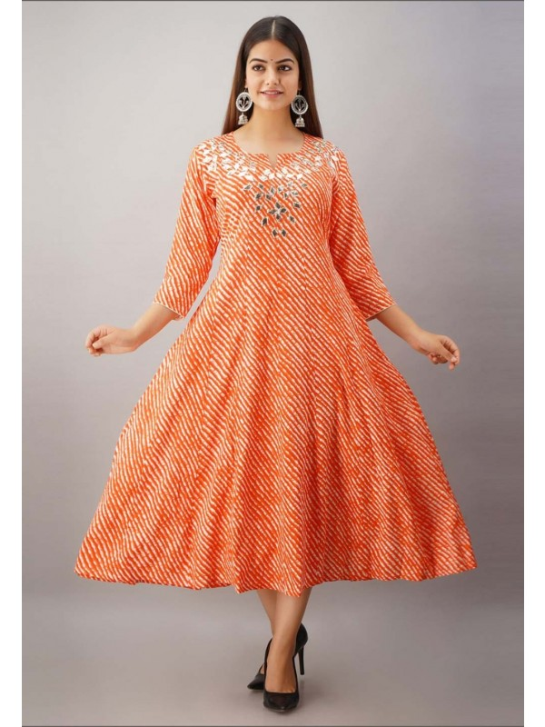 Orange Colour Rayon Fabric Gota Patti Readymade Kurti.